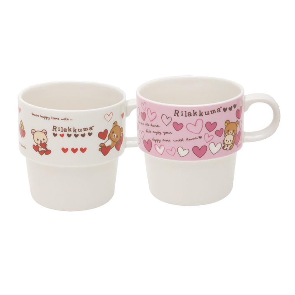 拉拉熊紅粉愛心系列情人節限定疊疊對杯組。(兩款)