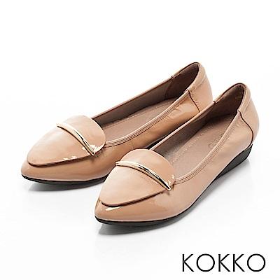 KOKKO - 城市綺想輕奢尖頭平底休閒鞋-優雅裸膚