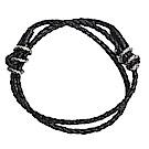 BOTTEGA VENETA 皮革手工編織復古造型手環(黑)