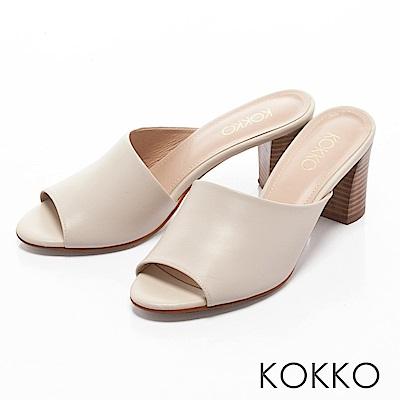 KOKKO -相遇在米蘭寬版粗高跟涼拖鞋-優雅米