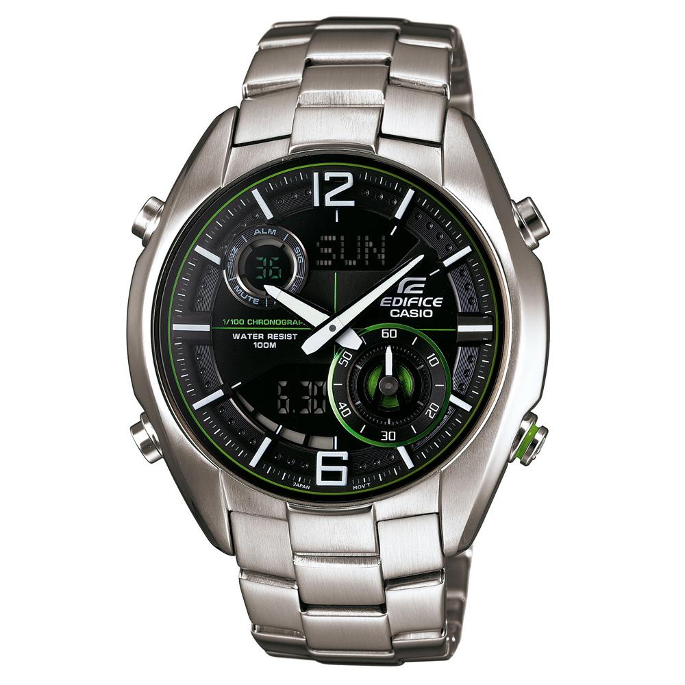 EDIFICE 抗磁機能賽車儀表不繡鋼雙顯錶-黑x綠圈/44mm