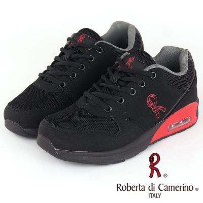 Roberta諾貝達 輕量透氣防臭氣墊運動童鞋-黑(親子款)