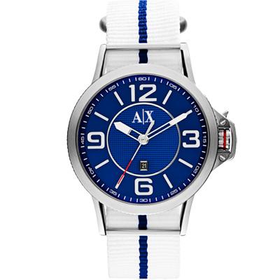 A│X Armani Exchange 獨立潮流休閒時尚腕錶-藍x白/44mm