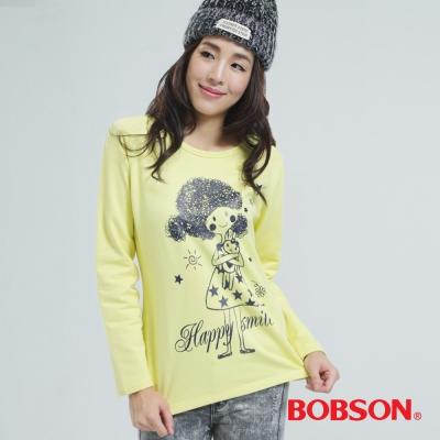 BOBSON  女款印圖上衣-黃色