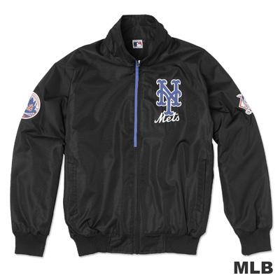 MLB-紐約大都會隊立領內刷毛風衣外套-黑(男)