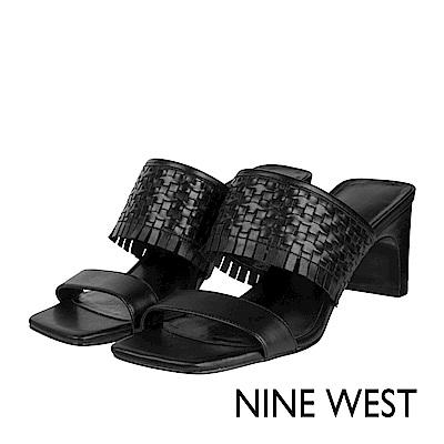 NINE WEST--一字流蘇編織高跟涼鞋-復古黑