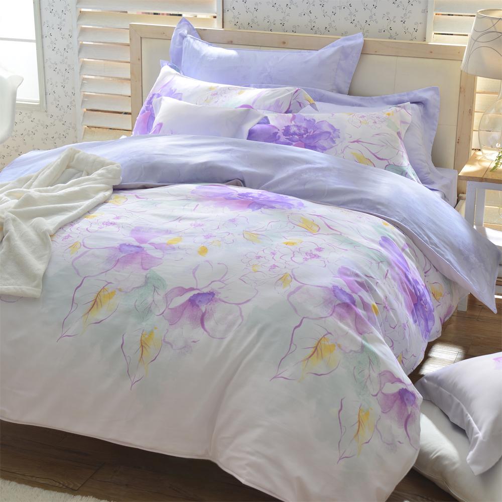 羽織美 紫蘊花香 天絲加大兩用被床包四件組(台灣製造)