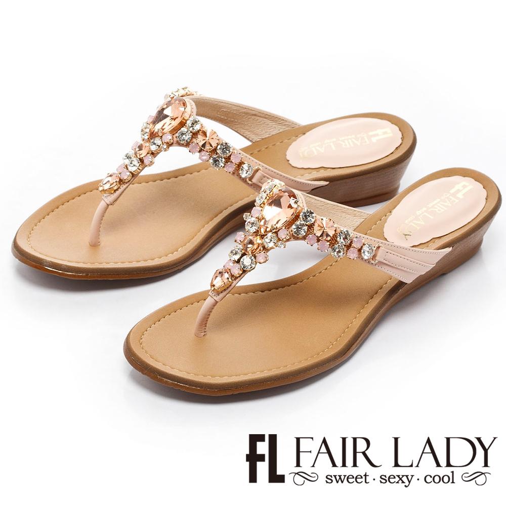 Fair Lady 閃耀光芒楔型寶石涼鞋 橙