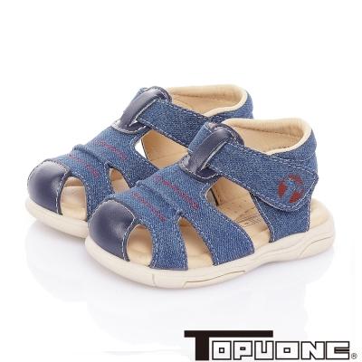 TOPUONE 手工款牛仔布減壓防滑學步涼鞋童鞋-藍