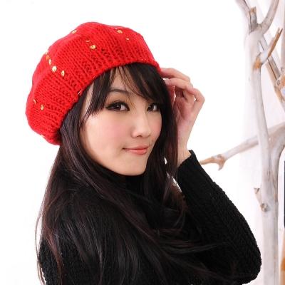 Aimee Toff 亮片點繽濃郁節氣毛帽(紅)