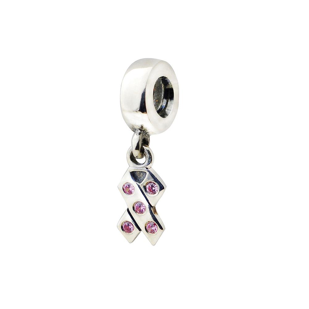 Pandora 潘朵拉 粉紅鋯石絲帶垂飾