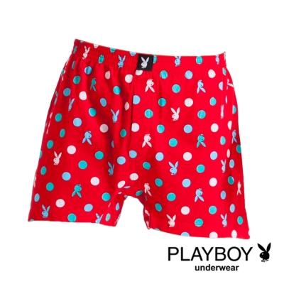 PLAYBOY MIT製LOGO印花精梳棉四角褲-單件(紅底藍彩圈)
