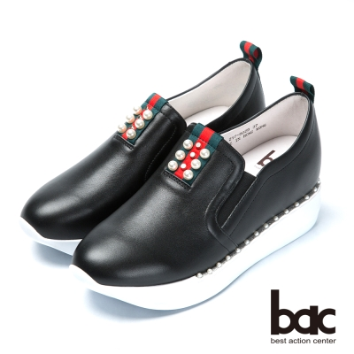 bac時尚樂活 珍珠點綴隱內增高休閒鞋-黑