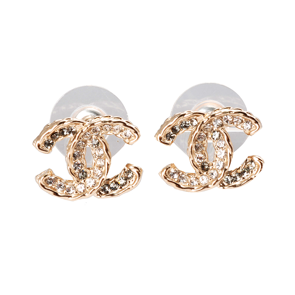 CHANEL 香奈兒經典CC滾邊設計水鑽鑲嵌穿式耳環(金)