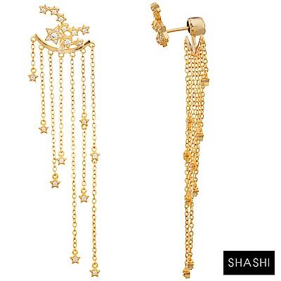 SHASHI 紐約品牌 STAR 閃耀星星 流蘇鑲鑽耳環 前後扣造型 垂墜式耳環