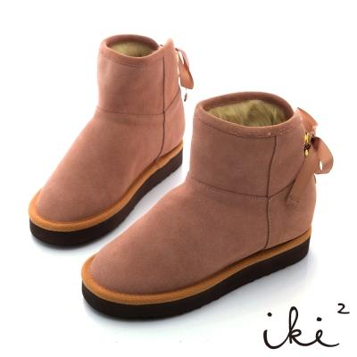 iki2機能雪靴系列-法式綁帶金綴飾雪靴-粉紅