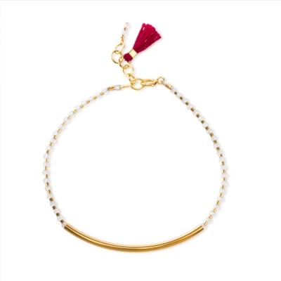 Dogeared 金色平衡骨紅色流蘇寶石手鍊