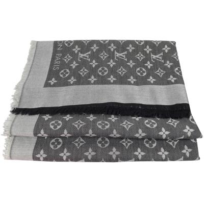 LV M71378 Monogram Denim 經典花紋羊毛絲綢披肩圍巾.黑