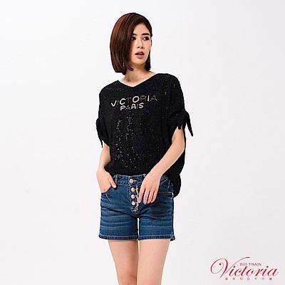 Victoria LOGO縫珠袖綁帶寬鬆短袖T-女-黑色