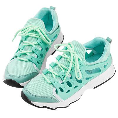 Robinlo & Co. 時尚異材質鏤空休閒運動鞋 綠色