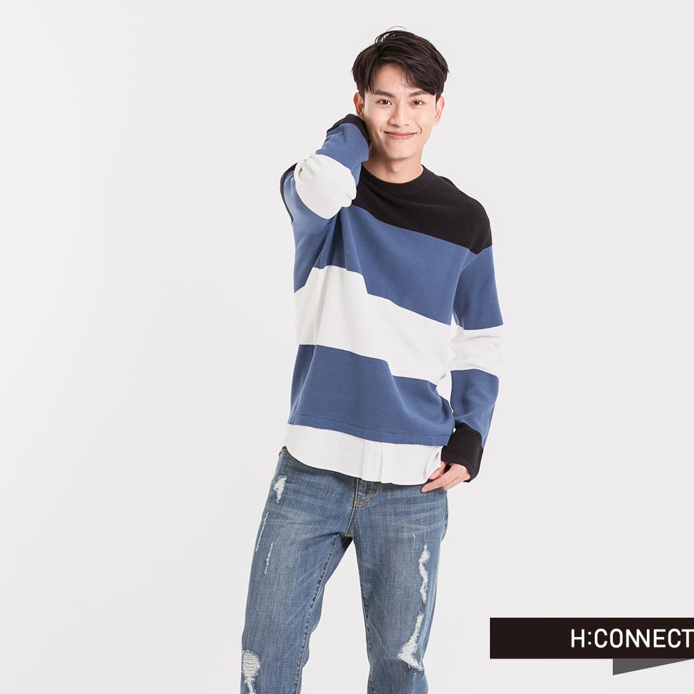 H:CONNECT韓國品牌男裝條紋假兩件針織襯衫-藍