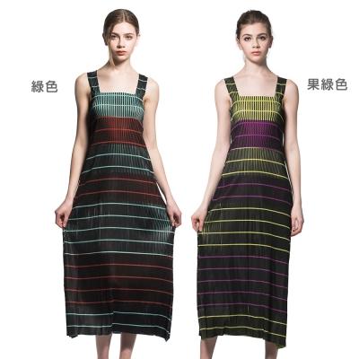 婉約條紋無袖圓領壓摺洋裝(共兩色)-玩美衣櫃
