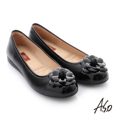 A.S.O 彈力舒芙 牛皮質感飾釦奈米平底鞋 黑色