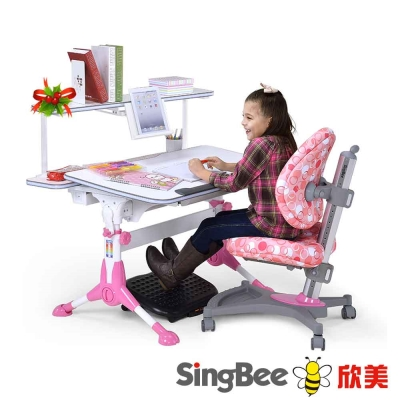 SingBee欣美 小哈佛成長桌+皇家上層書架+136成長椅