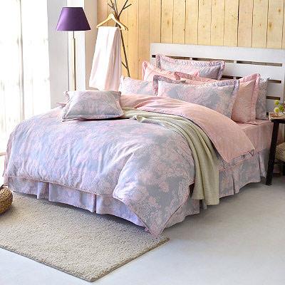 Grace Life 甜蜜戀香-粉 精梳純棉雙人兩用被床罩八件組