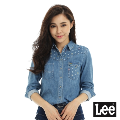 Lee 牛仔101+長袖襯衫-女-藍