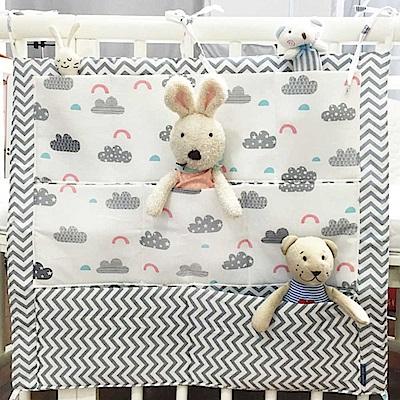 Baby unicorn 灰條雲朵嬰兒床邊收納掛袋