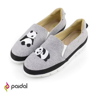 Paidal懶懶熊貓輕運動休閒樂福懶人鞋-經典灰
