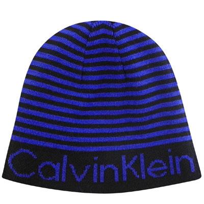 Calvin Klein CK藍色條紋針織蓋帽-One Size