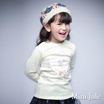 Mini Jule 童裝-上衣 花朵愛心蝴蝶結長袖T恤(米黃)