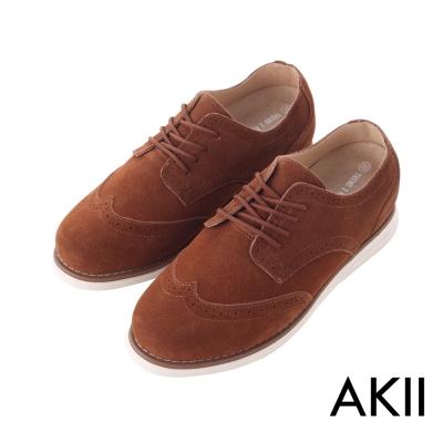 AKII韓國空運-時尚經典布洛克麂皮男款內增高休閒鞋 ↑6cm 咖啡