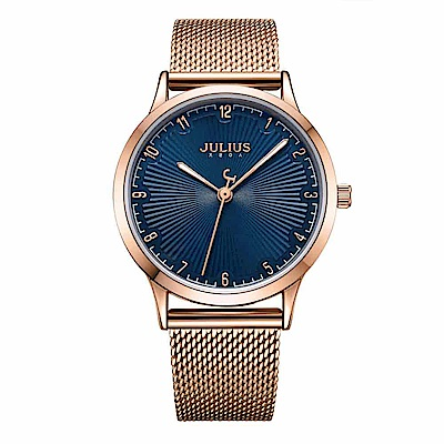 JULIUS聚利時 刻劃旅程米蘭錶帶腕錶-深邃藍/32mm