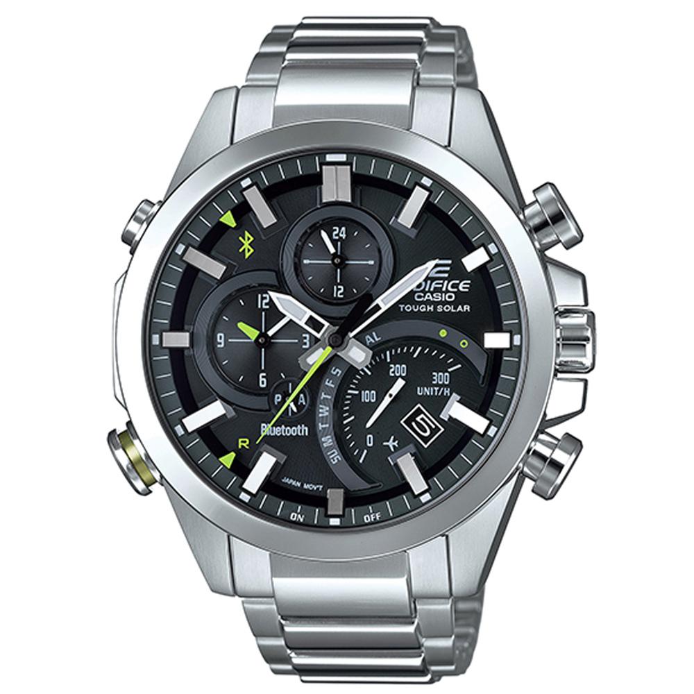 EDIFICE智者前衛科技太陽能藍牙傳輸賽車錶(EQB-501D-1A)黑面x銀48.1mm