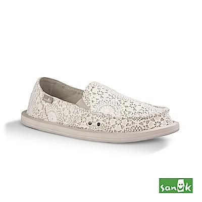 SANUK 勾針蕾絲懶人鞋-女款(白色)