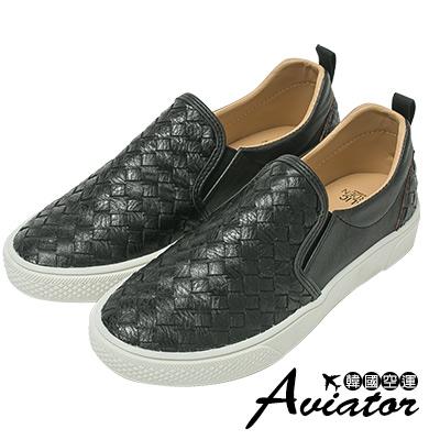 Aviator*韓國空運-正韓製個性編織皮革懶人鞋-黑