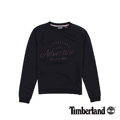 Timberland 女款黑色Saco Rvr圓領品牌標誌運動衫