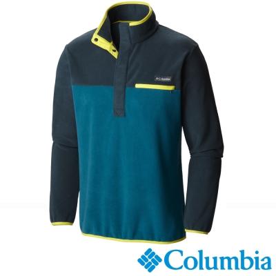 【美國Columbia哥倫比亞】男-半開襟刷毛長袖上衣-綠  UAE11390GR