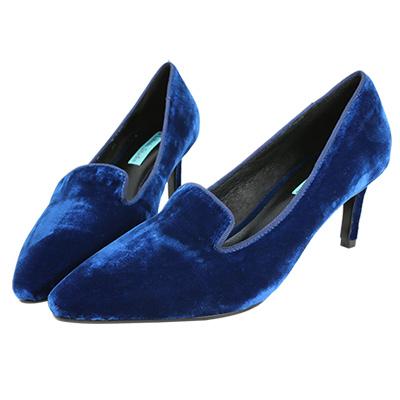 Robinlo Studio 高貴女伶絲絨尖頭高跟鞋 藍