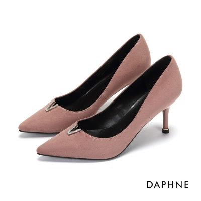 達芙妮DAPHNE 高跟鞋-V縷空水鑽絨面尖頭鞋-粉紅