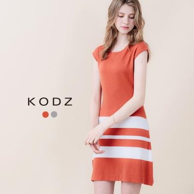 東京著衣-KODZ 內斂優雅條紋針織洋裝-S.M(共二色)