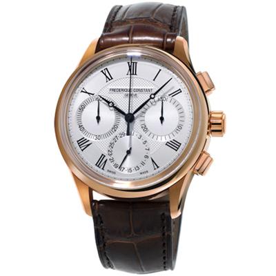 康斯登 CONSTANT自製機芯返馳式計時腕錶-42mm/銀白x咖啡