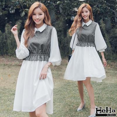 洋裝 假兩件條紋襯衫高腰七分袖連身裙洋裝-HeHa