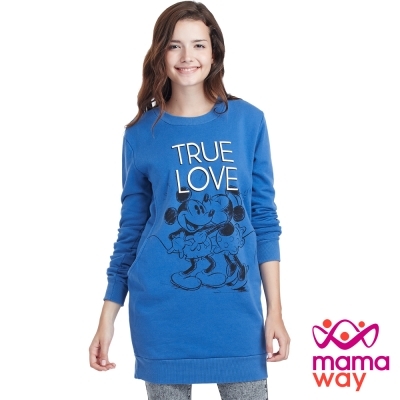 Mamaway 迪士尼TRUE LOVE刷毛長版孕婦裝.哺乳衣