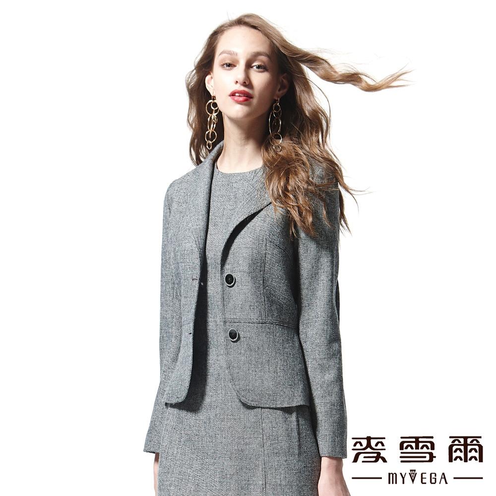 麥雪爾 素面鈕扣短版羊毛西裝外套