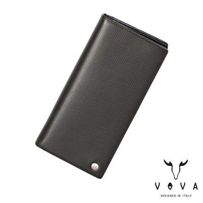 VOVA-BRICK-布瑞克系列12卡磚紋長夾-灰