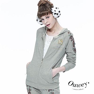 OUWEY歐薇-時尚休閒刺繡印花外套-灰